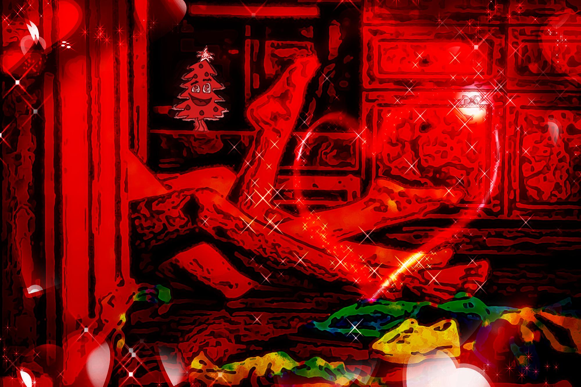 Buon Natale 2020 - No paura day, no paura world, no paura love, no medical tyranny, no great reset - pittura digitale di Francesco Galgani (12 dicembre 2020)