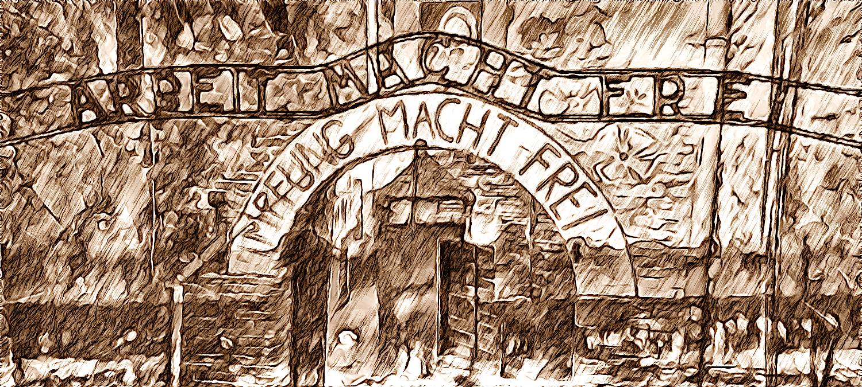 Fantasmi senza pace (pittura, Francesco Galgani, 7 settembre 2021) - 2021 - Impfung macht frei (La vaccinazione rende liberi); 1933 - Arbeit macht frei (Il lavoro rende liberi)