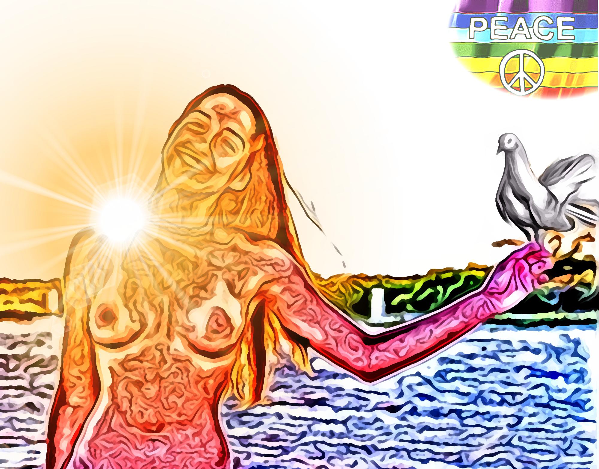Pace, solidarietà, disarmo - pittura digitale di Francesco Galgani, 17 novembre 2020