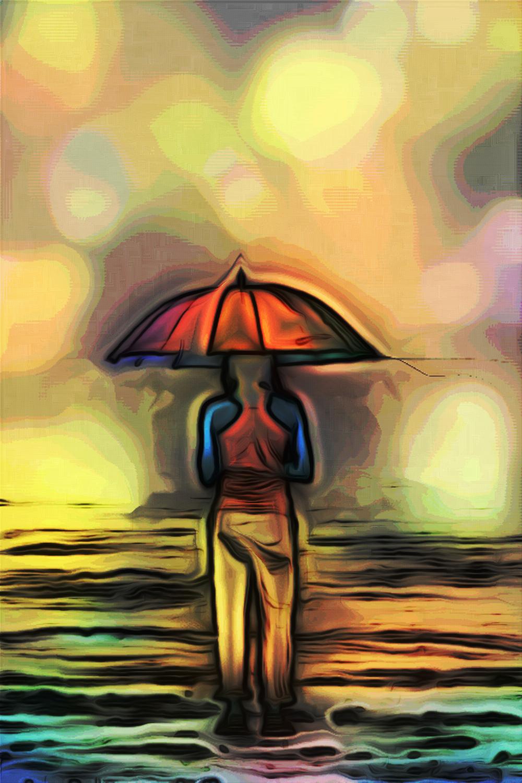 Resa Totale, Persona che cammina sotto la pioggia, pittura digitale di Francesco Galgani, 11 ottobre 2020