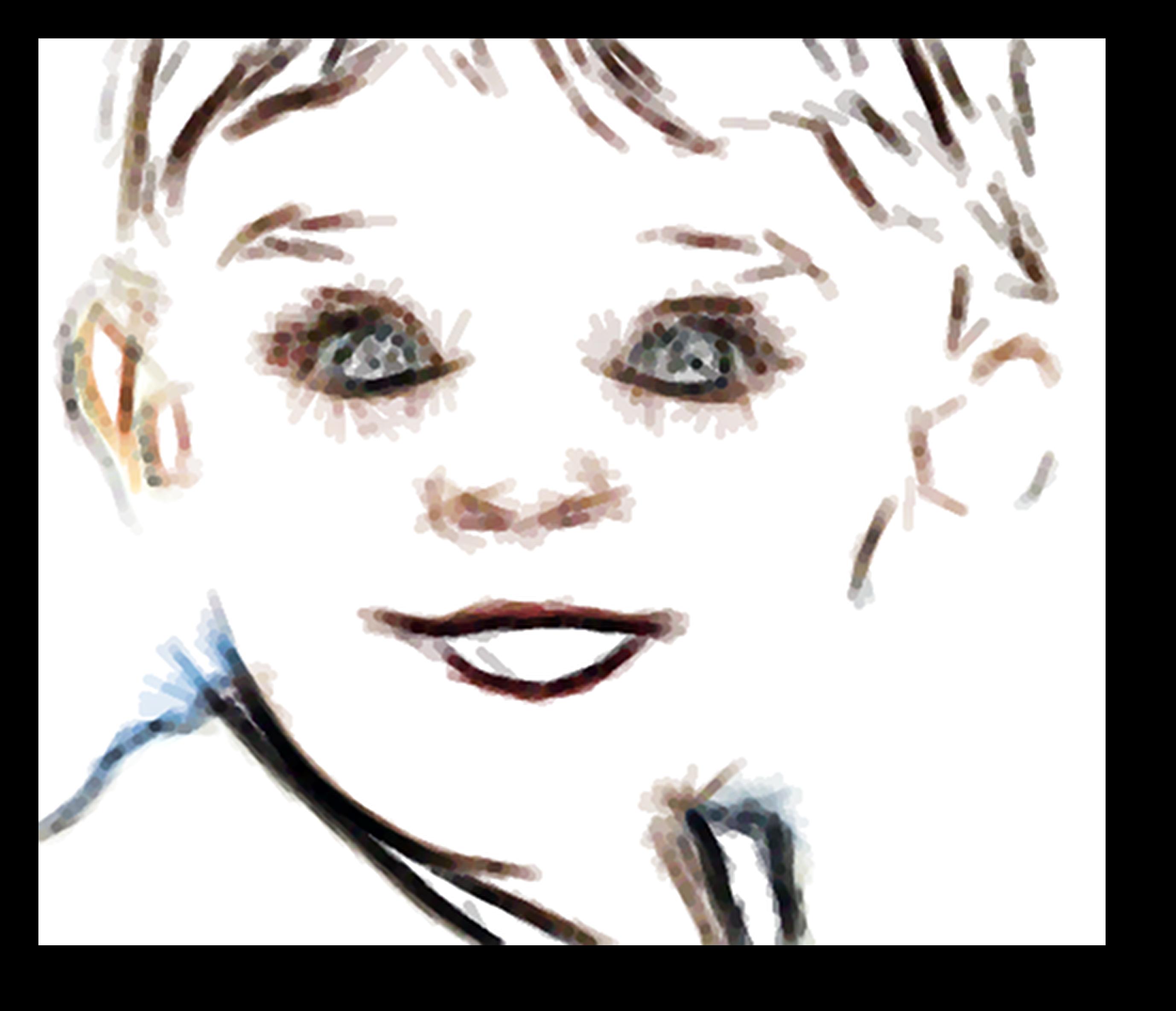 Sguardo innocente e meravigliato di un bambino, pittura digitale di Francesco Galgani, 14 ottobre 2020
