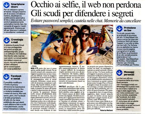 Occhio ai selfie, il web non perdona (articolo de La Nazione)
